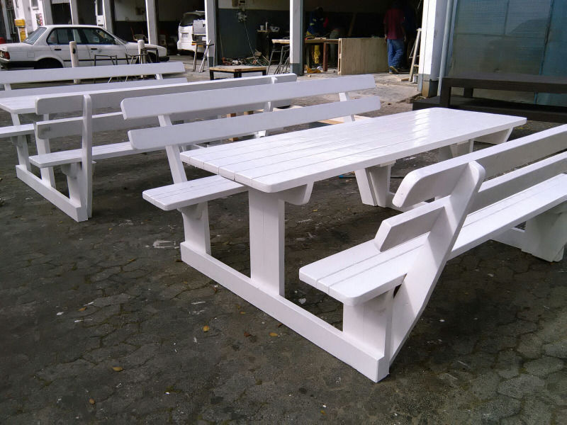 Outdoor Wood Bench Part - 24: Light Ork Benches White Wooden Benches West Cost, ...